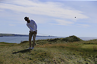 Pedro Figueiredo (POR) plays his 3rd shot on the 1st hole during Thursday's Round 1 of the Dubai Duty Free Irish Open 2019, held at Lahinch Golf Club, Lahinch, Ireland. 4th July 2019.<br /> Picture: Eoin Clarke | Golffile<br /> <br /> <br /> All photos usage must carry mandatory copyright credit (© Golffile | Eoin Clarke)