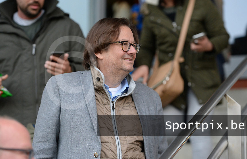20190430 - OOSTAKKER , BELGIUM : Anderlecht's chairman Marc Coucke pictured during a womensoccer game between  AA Gent Ladies and RSC Anderlecht Dames  , during play-off 1 in the Belgian Women's Superleague, at the PGB Stadium in Oostakker , tuesday 30 th April 2019 . PHOTO SPORTPIX.BE | DAVID CATRY