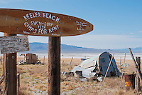 Keeler Beach, a sarcastic statement about the diversion of water from Owens Lake by the city of Los Angeles. Corner of Maud and Cerro Gordo Sreets in Keeler, California.