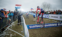 Gavin Haley (USA) bunny hopping over the barriers<br /> <br /> Men Juniors Race<br /> <br /> 2015 UCI World Championships Cyclocross <br /> Tabor, Czech Republic