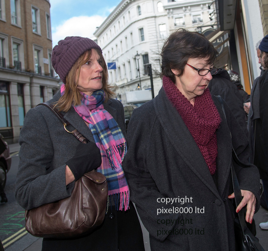 """Pic shows: Actresses Gwyneth Strong and Tessa Peake_Jones who played Cassandra Trotter and Raquel Turner<br /> <br /> <br /> Funeral of Roger Lloyd-Pack - """"Trigger"""" from Only Fools and Horses.<br /> <br /> Mourners arriving at the service at Actors Church in Covent Garden -<br /> <br /> <br /> <br /> <br /> Pic by Gavin Rodgers/Pixel 8000 Ltd"""