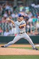 Columbus Clippers starting pitcher Toru Murata (17) in action against the Charlotte Knights at BB&T BallPark on May 27, 2015 in Charlotte, North Carolina.  The Clippers defeated the Knights 9-3.  (Brian Westerholt/Four Seam Images)