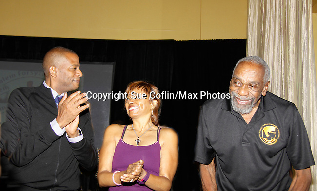 The National Black Theatre Festival with co-chairs All My Children's Debbi Morgan and Darnell Williams chat with actor Bill Cobbs at the press conference with a week of plays, workshops and much more with an opening night gala of dinner, awards presentation followed by Black Stars of the Great White Way followed by a celebrity reception. It is an International Celebration and Reunion of Spirit. (Photo by Sue Coflin/Max Photos)