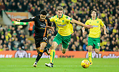 31st October 2017, Carrow Road, Norwich, England; EFL Championship football, Norwich City versus Wolverhampton Wanderers; Wolverhampton Wanderers forward Helder Costa battles with Norwich City defender Christoph Zimmermann
