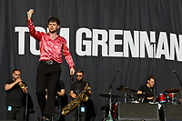 Pictured: Tom Grennan performs on stage. Saturday 13 July 2019<br /> Re: Stereophonics live concert at the Singleton Park in Swansea, Wales, UK.