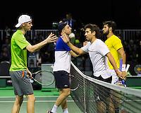 ABN AMRO World Tennis Tournament, Rotterdam, The Netherlands, 14 februari, 2017, Feliciano Lopez (ESP), Marc Lopez (ESP), Niels Lootsma (NED), Tallon Griekspoor (NED)<br /> Photo: Henk Koster