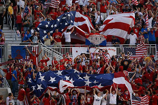 Sandy - USA vs. El Salvadar FIFA World Cup Qualifier Soccer Saturday, September 5 2009 at Rio Tinto Stadium. .fans cheer after USA forward Jozy Altidore goal makes it 2-1 for usa