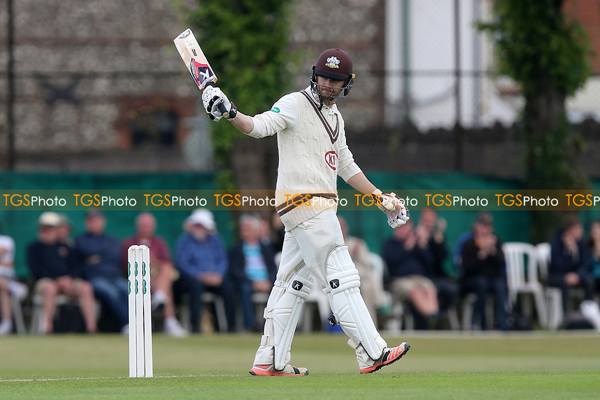 Mark Stoneman of Surrey celebrates reaching 150 runs during Surrey CCC vs Essex CCC, Specsavers County Championship Division 1 Cricket at Guildford CC, The Sports Ground on 9th June 2017