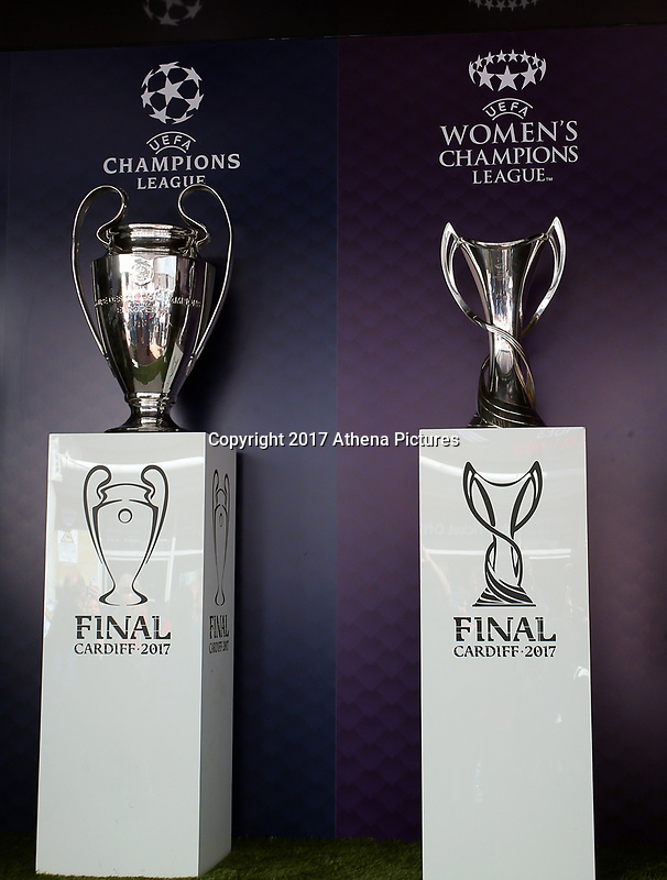 SWANSEA, WALES - APRIL 22: The Champions League and Women's Champions League trophies on display outside the stadium prior to the Premier League match between Swansea City and Stoke City at The Liberty Stadium on April 22, 2017 in Swansea, Wales. (Photo by Athena Pictures/Getty Images)