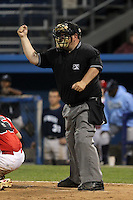 Umpire Ryan Rafferty during an exhibition game between the Batavia Muckdogs Newark Pilots of the Perfect Game Collegiate Baseball Lague at Dwyer Stadium on June 15, 2012 in Batavia, New York.  Batavia defeated Newark 8-0.  (Mike Janes/Four Seam Images)