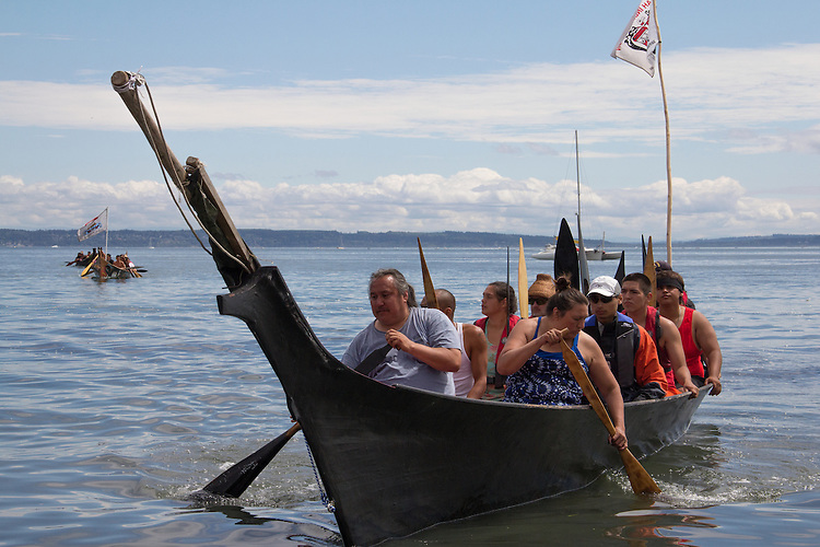 Canoe Journey, Paddle to Nisqually, 2016, Makah tribe, Makah canoes, landing, Port Townsend, Fort Worden, Olympic Peninsula, Puget Sound, Salish Sea, Washington State, USA,