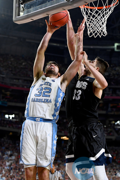 GLENDALE, AZ - APRIL 03: Luke Maye #32 of the North Carolina Tar Heels goes for a layup against Killian Tillie #33 of the Gonzaga Bulldogs during the 2017 NCAA Men's Final Four National Championship game at University of Phoenix Stadium on April 3, 2017 in Glendale, Arizona.  (Photo by Brett Wilhelm/NCAA Photos via Getty Images)
