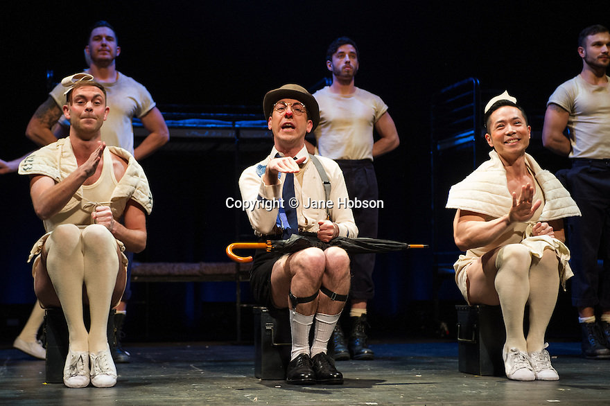 London, UK. 14.02.2014. Regan de Wynter Ltd, in association with Hilary A Williams present Gilbert and Sullivan's HMS PINAFORE, at the Hackney Empire from Friday 14th to Sunday 23rd February, prior to an 8 week UK tour. Picture shows: Will Keith (ensemble), David McKechnie (The Rt. Hon. Sir Joseph Porter, K.C.B.) and Benjamin Wong (ensemble). Photograph © Jane Hobson.