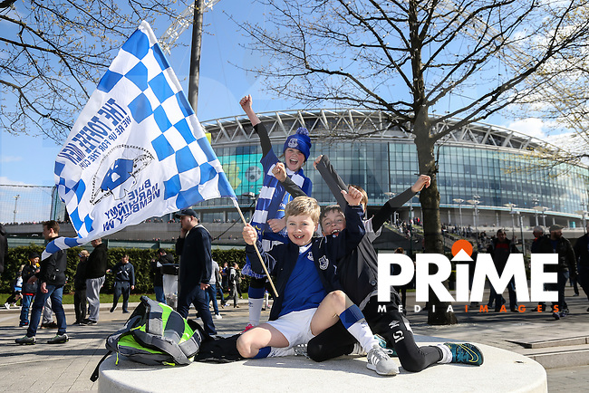 Young Everton fans ahead of the FA Cup Semi-Final match between Everton and Manchester United at Wembley Stadium, London, England on 23 April 2016. Photo by David Horn / PRiME Media Images.