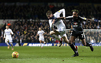 Reading's Leandro Bacuna is fouled by Leeds United's Jack Clarke<br /> <br /> Photographer Rich Linley/CameraSport<br /> <br /> The EFL Sky Bet Championship - Leeds United v Reading - Tuesday 27th November 2018 - Elland Road - Leeds<br /> <br /> World Copyright © 2018 CameraSport. All rights reserved. 43 Linden Ave. Countesthorpe. Leicester. England. LE8 5PG - Tel: +44 (0) 116 277 4147 - admin@camerasport.com - www.camerasport.com