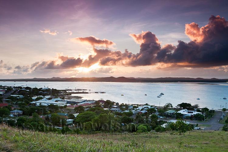 View of township at Thursday Island at dawn.  Thursday Island, Torres Strait Islands, Queensland, Australia