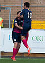 Morton's Decaln McManus (left) is congratulated by Thomas O'Ware (10) after he scores their first goal.