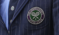 The Championships Wimbledon badge on a line judges' blazer<br /> <br /> Photographer Rob Newell/CameraSport<br /> <br /> Wimbledon Lawn Tennis Championships - Day 8 - Tuesday 10th July 2018 -  All England Lawn Tennis and Croquet Club - Wimbledon - London - England<br /> <br /> World Copyright &Acirc;&copy; 2017 CameraSport. All rights reserved. 43 Linden Ave. Countesthorpe. Leicester. England. LE8 5PG - Tel: +44 (0) 116 277 4147 - admin@camerasport.com - www.camerasport.com