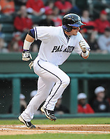 Designated hitter/infielder Taylor Johnson (23) of the Furman Paladins in a game against the Georgia Bulldogs on Wednesday, March 2, 2011, at Fluor Field in Greenville, S.C.  Photo by Tom Priddy / Four Seam Images