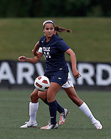 Yale University forward Paula Hagopian (14) controls the ball and looks to pass. In overtime, Harvard University defeated Yale University,1-0, at Soldiers Field Soccer Stadium, on September 29, 2012.