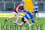 Fionán Horgan of St Brendans tries to get past Causeway's Brandon Barrett in the Division 1 County Hurling League final