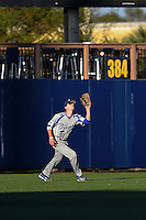 Indiana State Sycamores outfielder Connor McClain (6) catches a fly ball during a game against the Vanderbilt Commodores on February 20, 2015 at Charlotte Sports Park in Port Charlotte, Florida.  Vanderbilt defeated Indiana State 3-2.  (Mike Janes/Four Seam Images)