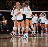 STANFORD, CA - December 1, 2018: Holly Campbell, Jenna Gray, Kate Formico, Kathryn Plummer, Meghan McClure at Maples Pavilion. The Stanford Cardinal defeated Loyola Marymount 25-20, 25-15, 25-17 in the second round of the NCAA tournament.