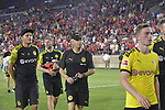Football: Test Match, Liverpool FC - Borussia Dortmund. Borussia Dortmund head coach Lucien Favre and his team leave the pitch after their exhibition match on July 19, 2019 at Notre Dame Stadium. <br /> Tim Vizer/DPA