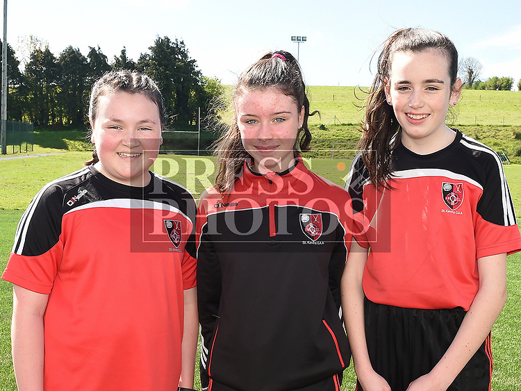 Cara Lynch, Gemma Murray and Anna johnson who took part in the St. Kevins charity relay run. Photo:Colin Bell/pressphotos.ie