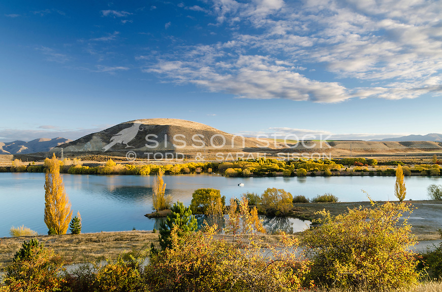 Autumn at Lake Ruataniwha, near Twizel, McKenzie Country, Canterbury, New Zealand - stock photo, canvas, fine art print