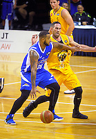 BJ Anthony in action during the national basketball league match between Wellington Saints and Mountain Airs at TSB Bank Arena, Wellington, New Zealand on Friday, 6 May 2016. Photo: Dave Lintott / lintottphoto.co.nz