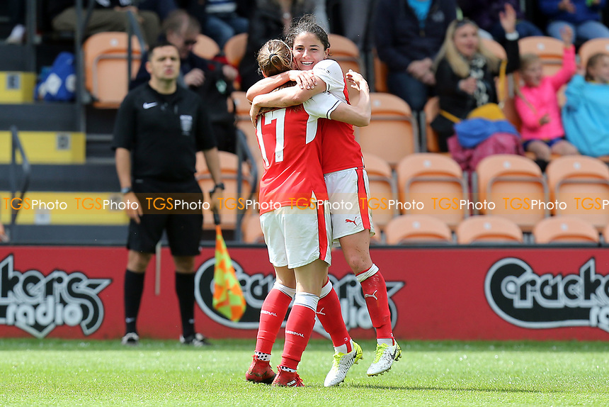 Danielle van de Donk of Arsenal Ladies is congratulated after scoring the second Arsenal goal during Arsenal Ladies vs Birmingham City Ladies, FA Women's Super League FA WSL1 Football at the Hive Stadium on 20th May 2017