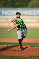 Eugene Emeralds starting pitcher Faustino Carrera (9) follows through on his delivery during a Northwest League game against the Salem-Keizer Volcanoes at Volcanoes Stadium on August 31, 2018 in Keizer, Oregon. The Eugene Emeralds defeated the Salem-Keizer Volcanoes by a score of 7-3. (Zachary Lucy/Four Seam Images)