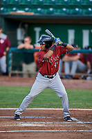 Rubendy Jaquez (49) of the Idaho Falls Chukars bats during a game against the Ogden Raptors at Lindquist Field on August 29, 2018 in Ogden, Utah. Idaho Falls defeated Ogden 15-6. (Stephen Smith/Four Seam Images)