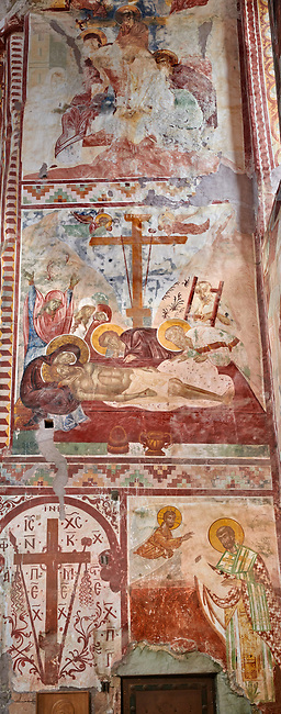 Pictures & images of the Byzantine cupola fresco  in the Gelati Georgian Orthodox Church of the Virgin, 1106, depicting a Calvary scene as Christ is taken down from the cross.  The medieval Gelati monastic complex near Kutaisi in the Imereti region of western Georgia (country). A UNESCO World Heritage Site.