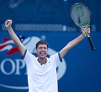 OLIVER GOLDING (GBR) (13) against JIRI VESELY (CZE) (1)  in the Final of the Junior Boy's Singles Final. Oliver Golding beat Jiri Vesely 5-7 6-3 6-4..Tennis - Grand Slam - US Open - Flushing Meadows - New York - Day 14 - September 11th  2011..© AMN Images, Barry House, 20-22 Worple Road, London, SW19 4DH, UK..+44 208 947 0100.www.amnimages.photoshelter.com.www.advantagemedianetwork.com.