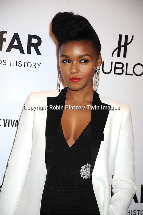 Janelle Monae arrives at the amfAR New York Gala to kick off Fashion Week on February 8, 2012 at Cipriani Wall Street in New York City.