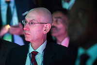 National Basketball Association (NBA) commissioner Adam Silver listens as U.S. President Barack Obama speaks at the U.S.-Africa Business Forum at the Plaza Hotel, September 21, 2016 in New York City. The forum is focused on trade and investment opportunities on the African continent for African heads of government and American business leaders. Photo Credit: Drew Angerer/CNP/AdMedia