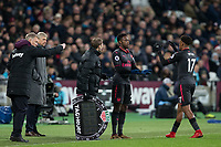 Danny Welbeck of Arsenal replaces Alex Iwobi of Arsenal during the Premier League match between West Ham United and Arsenal at the Olympic Park, London, England on 13 December 2017. Photo by Andy Rowland.