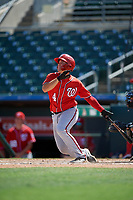 Washington Nationals KJ Harrison (4) at bat during an Instructional League game against the Miami Marlins on September 25, 2019 at Roger Dean Chevrolet Stadium in Jupiter, Florida.  (Mike Janes/Four Seam Images)