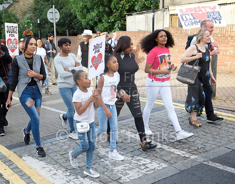Mark Duggan <br /> march and demonstration / vigil at the Broadwater Estate and outside Tottenham Police Station, Tottenham, London, Great Britain <br /> 4th August 2017 <br /> <br /> on the 6th anniversary after he was killed in 2011. <br /> <br /> <br /> Mark Duggan's family <br /> <br /> Photograph by Elliott Franks <br /> Image licensed to Elliott Franks Photography Services