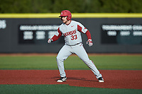 Grant Koch (33) of the Arkansas Razorbacks takes his lead off of second base against the Charlotte 49ers at Hayes Stadium on March 21, 2018 in Charlotte, North Carolina.  The 49ers defeated the Razorbacks 6-3.  (Brian Westerholt/Four Seam Images)