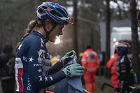 Katie Compton (USA/KFC Racing p/b Trek/Panache) post race.<br /> <br /> <br /> women's elite race<br /> Lampiris Zilvermeercross Mol / Belgium 2017