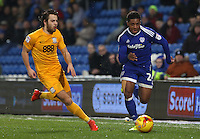 Kadeem Harris of Cardiff City is closely marked by Ben Pearson of Preston North End during the Sky Bet Championship match between Cardiff City and Preston North End at Cardiff City Stadium, Wales, UK. Tuesday 31 January 2017