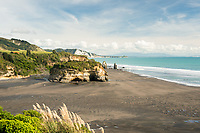 Taranaki coastline with Three Sisters rock formation and Tongaporutu River, New Plymouth, Taranaki Region, North Island, New Zealand, NZ