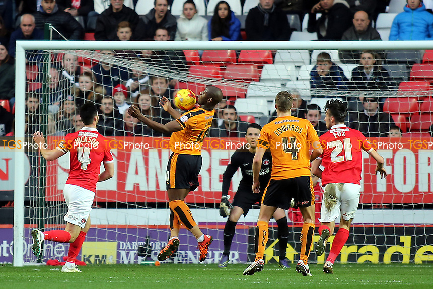 Benik Afobe of Wolves controls the ball in the Charlton goalmouth during Charlton Athletic vs Wolverhampton Wanderers, Sky Bet Championship Football at The Valley, London, England on 28/12/2015