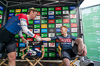 Picture by Allan McKenzie/SWpix.com - 17/05/2018 - Cycling - OVO Energy Tour Series Mens Race Round 3:Aberdeen - JLT Condor's Ed Clancy is congratulated by Team Wiggins' Robert Scott.