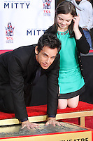 HOLLYWOOD, CA - DECEMBER 03: Ben Stiller, Ella Stiller attending the Ben Stiller Hand/Footprint Ceremony held at TCL Chinese Theatre on December 3, 2013 in Hollywood, California. (Photo by David Acosta/Celebrity Monitor)