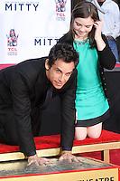 HOLLYWOOD, CA - DECEMBER 03: Ben Stiller, Ella Stiller attending the Ben Stiller Hand/Footprint Ceremony held at TCL Chinese Theatre on December 3, 2013 in Hollywood, California. (Photo by David Acosta/Celebrity Monitor)