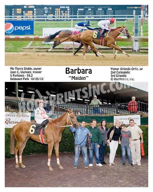 Barbara winning at Delaware Park on 10/25/12